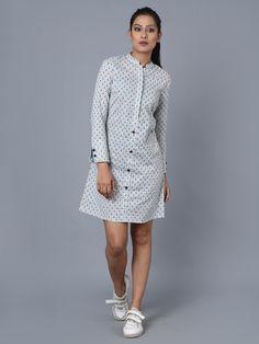 Blue Cotton Block Printed Shirt Dress – The Loom Photos Of Dresses, Types Of Dresses, Kalamkari Dresses, Mehendi Outfits, Kurti Neck Designs, Everyday Dresses, Tee Dress, Indian Designer Wear, Apparel Design