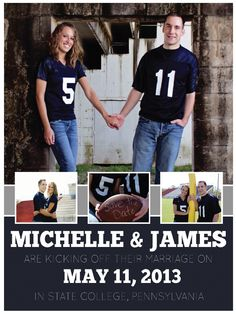 Our homemade/Pinterest-inspired/ football themed Save the Date!