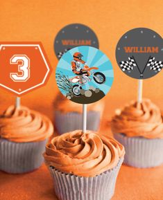 Dirt Bike Party Cupcake toppers  Motorbike by SunshineParties .......delightful!
