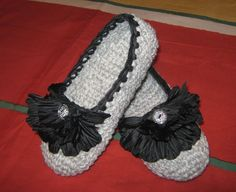 grey crochet slippers with bottons brown man or women by ukraisa