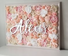 Baby Name Sign Floral Wall Floral Nursery Name Sign Floral Letter Name Sign Elegant NurseryFlower Frame Nursery Art Flower Frame - Perfect Baby Names - Ideas of Perfect Baby Names - Rose Nursery, Flower Nursery, Nursery Room, Nursery Name Decor, Room Decor, Mural Floral, Floral Wall, Baby Names Flowers, Baby Name Signs
