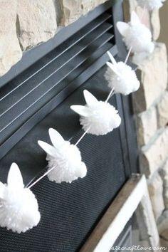 "The Chic Technique: {DIY} Bunny Pom Pom Garland screams ""Hoppy"" Easter! Easter Garland, Pom Pom Garland, Easter Wreaths, Pom Poms, Diy Easter Bunting, Bunny Crafts, Easter Crafts For Kids, Easter Ideas, Diy Osterschmuck"