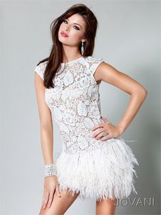 Jovani embroidered lace feathered skirt short dress.