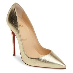Women's Christian Louboutin So Kate Pointy Toe Pump found on Polyvore featuring shoes, pumps, heels, louboutin, metallic gold, pointed toe pumps, pointy toe pumps, metallic gold pumps, christian louboutin shoes and red sole pumps
