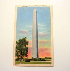 Linen Postcard  Washington Monument Postcard Washington D.C.