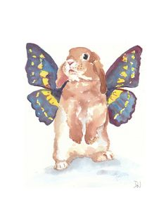 Rabbit Watercolor PRINT - Bunny Rabbit, Work of art created by Deidre Wicks. Watercolor Animals, Watercolor Print, Watercolor Paintings, Original Paintings, Watercolour Butterfly, Rabbit Illustration, Bunny Art, Animal Cards, Butterfly Wings