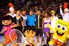 Victoria Azarenka, Jo-Wilfried Tsonga, Roger Federer, Novak Djokovic, Serena Williams and Ana Ivanovic pose with Nickelodeon characters during the Rod Laver Arena spectacular at Kids Tennis Day.