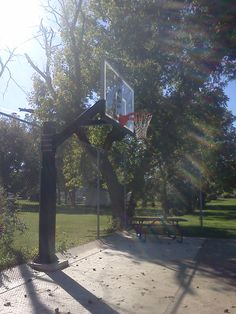 There is an angled side view of the goal. It is an amazing system that is very solid and secured that lasts very long time. Backyard Basketball, Houston Basketball, High School Basketball, Basketball Goals, Basketball Court, Spalding Basketball Hoop, Basketball Systems, Side View, Amazing