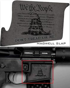Ultimate Arms Gear Mag Wraps Magwell Slaps Stealth Black DTOM Don't Tread On Me AR15/M4/M16 .223 5.56 Waterproof Durable Lower Decal Skin Kit - USA MADE