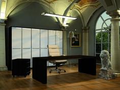 Desk Pitagora and drawers in Ebony finish with high cupboard in White glass doors  //  ---  //  Scrivania Pitagora e cassettiera in finitura Ebano e libreria con antine cristallo Bianco