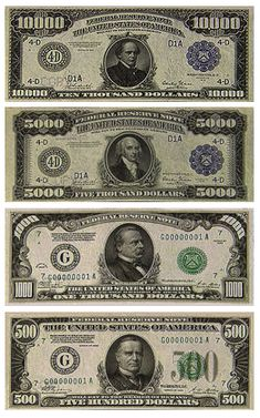 Large denominations of United States currency Rare Coins, Us Coins, Money Template, Money Notes, Coins Worth Money, Valuable Coins, Coin Worth, Old Money, Coin Collecting