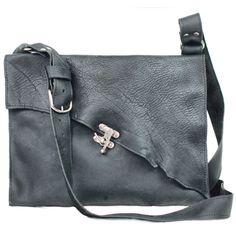 Divina Denuevo Portland Swing Clasp Industrial Raw Edge Leather Messenger Bag