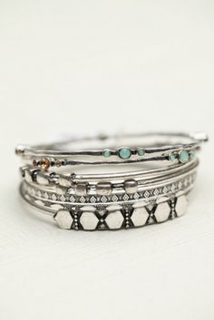 Free People Womens Electric Stone Hard Bangle Set by: Free People