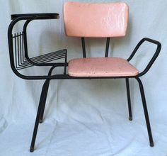 pink and gold vintage phone chair-1950s.