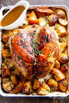 One Pan Juicy Herb Roasted Turkey & Potatoes With Gravy | https://cafedelites.com