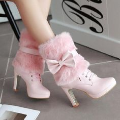 f788adc5caaac Womens Big Fur Top Ankle Boots Chunky High Heel Pointed Toe Causal shoes  Lace Up