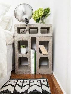 For your inspiration take a look some interesting concrete blocks ideas and make something interesting and useful.Concrete blocks are a construction material, they are cheap, easy to get and easy to handle. Interior, Diy Furniture, Concrete Blocks, Bedroom Diy, Home Decor, Cinder Block Furniture, Apartment Decor, Small Storage, Small Apartment Patio