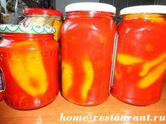 Перец фаршированный рулетиками из баклажанов в томатном соке