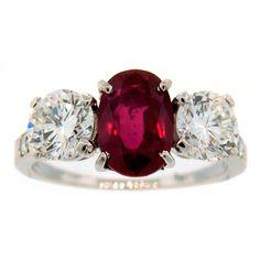 TIFFANY & Co. 2.20-ct Burmese Ruby (AGL Cert) Diamond Plat Ring