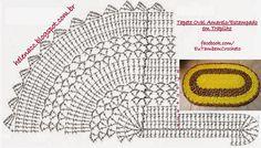 EU TAMBÉM CROCHETO...: Tapete Oval Amarelo/Estampado em Trapilho