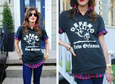 Layer your rocker tee over a plaid button-down shirt, or try one of THESE outfit ideas for a classic tee: http://blog.womenshealthmag.com/beauty-style-buzz/3-ways-to-wear-a-t-shirt/ via @Hilary Rushford / Dean Street Society