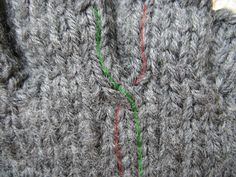 Crossing stitches on gloves to avoid the little holes between the fingers.