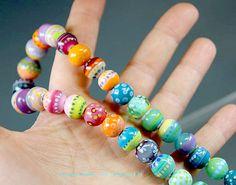Künstler+Glas+Halskette+Multicolor+Regenbogen+von+manuelawutschke