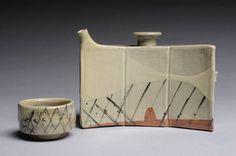 Artist: Betsy Williams, Title: Dachibin Sake Server and Guinomi, White Slip Celadon Glaze - click on image to enlarge