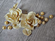 Ivory wedding headpiece Bridal hair flower, Porcelain rose and pearl hair comb, Bridesmaid hair flower clip Vintage wedding Bride to be gift - pinned by pin4etsy.com