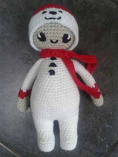 """Noo Noo Doll in her Snowman Costume - Free Amigurumi Pattern - PDF Format - Click """"download"""" here: http://www.ravelry.com/patterns/library/noo-noo-doll-in-her-snowman-costume"""