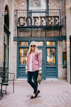 pink wool blazer + white dress shirt + skinny jeans + loafers