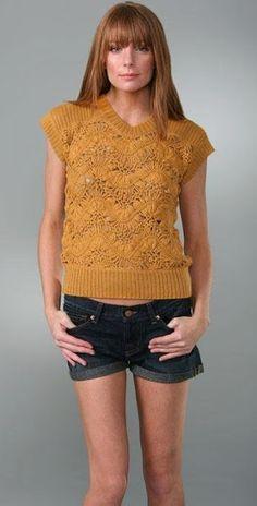 orange hairpin lace crochet top vest