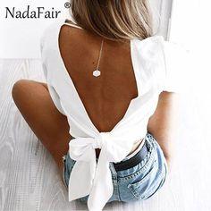 Nadafair Full Sleeve V Neck Backless Bow Short Chiffon Blouse