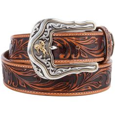 Men's Leather Tooled Western Belts