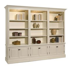 A&E Wood Designs French Restoration Brighton Open Display Bookcase Bookcase Wall, Built In Bookcase, Bookshelves, Wall Shelves, Brighton, White Wood, Wood Design, Living Room Furniture, Office Furniture