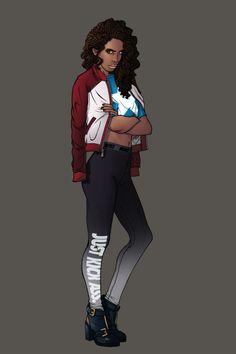 America Chavez aka Miss America by Chris Panda Art Marvel Mode, Marvel Art, Marvel Comics, Female Superheroes And Villains, Marvel Characters, Female Characters, Marvel Fashion, Bd Pop Art, Black Comics