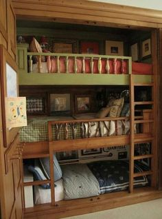 Closet into three-tiered bunk beds - our girls so need this! Maybe then there would be space to run a vacuum in their room! Lol