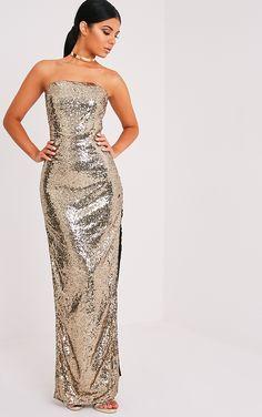 Kathie Gold Bandeau Sequin Maxi Dress Image 1