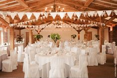 Packington Moor Malt Barn decorated with chair covers and bunting