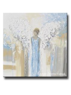 "ORIGINAL Abstract Angel Painting Guardian Angel Textured Fine Art Blue White Beige Grey Home Wall Art X-Large 36x36"" - Christine Krainock Art - Contemporary Art by Christine - 1"