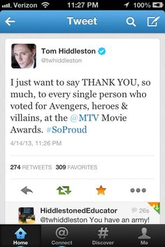 Tom tweets the fans a thank you for the MTV Movie awards. YOU'RE WELCOME! I only voted for a whole month but no biggie