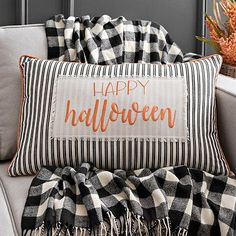 This Ticking Stripe Happy Halloween Pillow will make a great addition to your Halloween decor. Try putting it alongside your solid-colored pillows. Happy Halloween, Halloween Home Decor, Holidays Halloween, Halloween Crafts, Halloween Decorations, Halloween Ideas, Halloween Party, Halloween Countdown, Halloween 2019