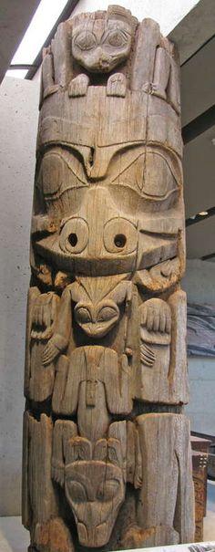 GyaaGang (House 9 -front pole), Gangxid KiiGawa Clan SGaang Gwaay Linagaay (Ninstints, Haida Gwaii, BC) Red cedar, 1860 or earlier BC Totem Pole. Photo by Don Hitchcock. At the Museum of Anthropology, University of British Columbia