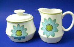 Noritake Up-Sa Daisy Creamer + Lidded Sugar Bowl Blue Green Flowers Rim Stripe #Noritake