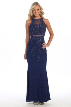 Evening Illusion Two Parts Set Dress FT81043 Sheath Shape Long Evening and Prom Dress has High Neckline. Dress is Sleeveless with Illusion Cropped Top featuring Beading Detail, Full Length Lace Skirt. https://www.smcfashion.com/wholesale-evening-dresses/evening-dress-ft81043