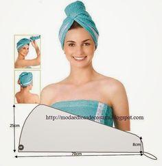 Touca fácil de costurar. A touca é um acessório indispensável, principalmente para a mulher. Segura o cabelo e ajuda a secar sem o estragar. É excelente ta