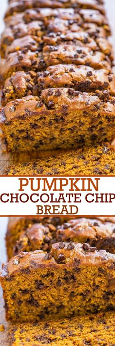 The Best Pumpkin Chocolate Chip Bread - Super soft, moist, rich pumpkin flavor, and loaded with chocolate chips! Easy, no mixer recipe that's the BEST!!