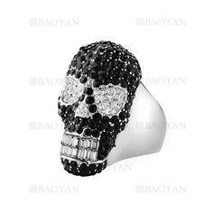 anillo de craneo brillate cristal en acero plateado inoxidable para caballero -SSRGG271897