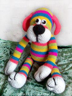 Купить Барбос радужный. - вязаная игрушка, игрушка крючком, вязаная собачка, собака, собачка, радужный