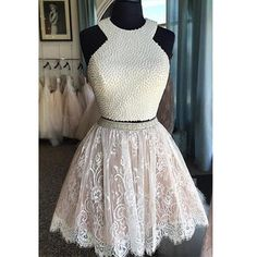 New Arrival Knee-Length  Lace Two Piece Homecoming Dresses with Pearls
